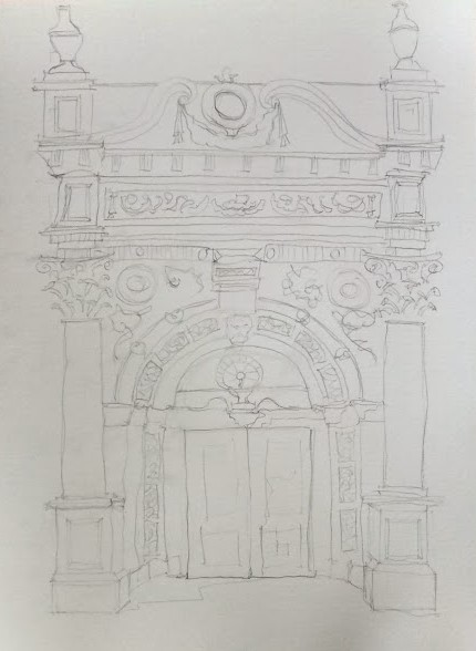 carved stone doorway watercolour (3)
