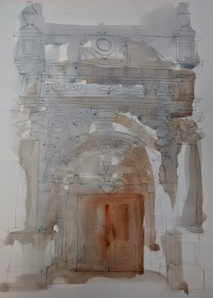 carved stone doorway watercolour (4)