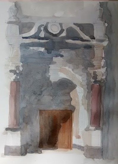 carved stone doorway watercolour (5)