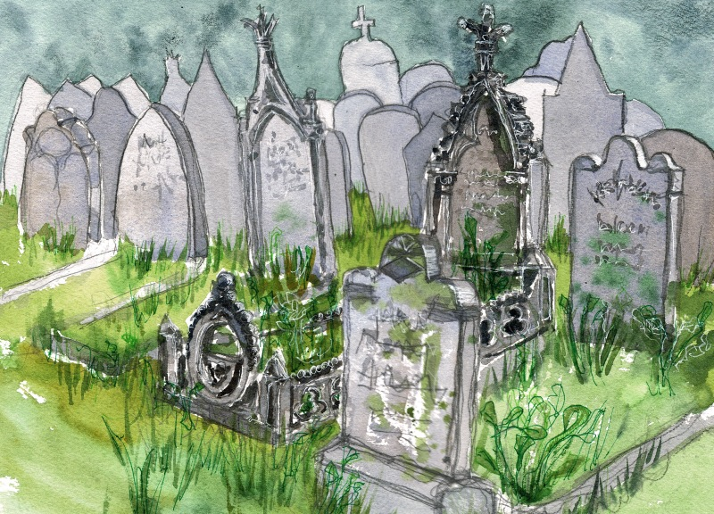 Haworth graveyard watercolour
