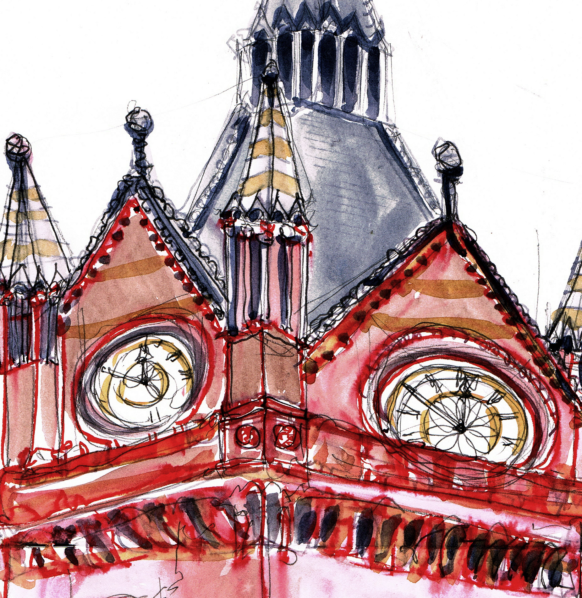 st pancras watercolour sketch 1