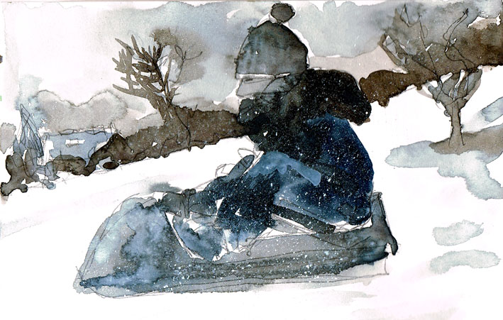 sledging watercolour