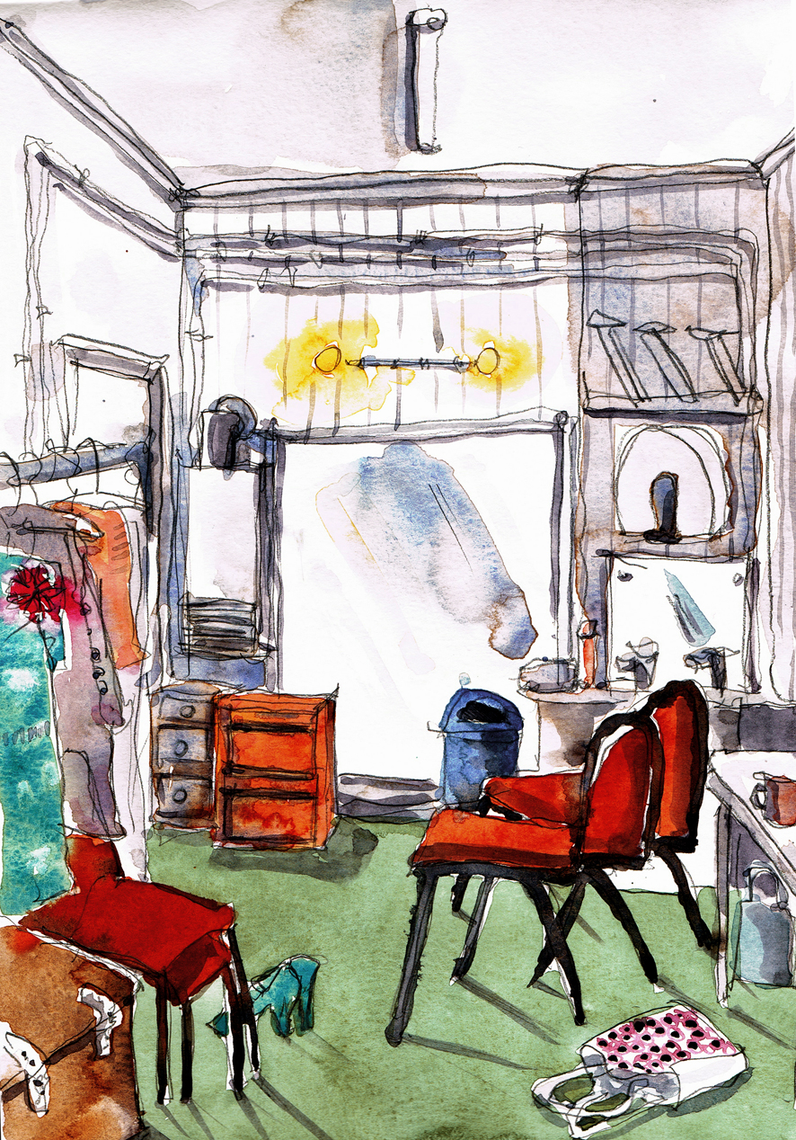 dressing room watercolour sketch