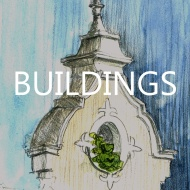 paintings and drawings of architecture and man made structures