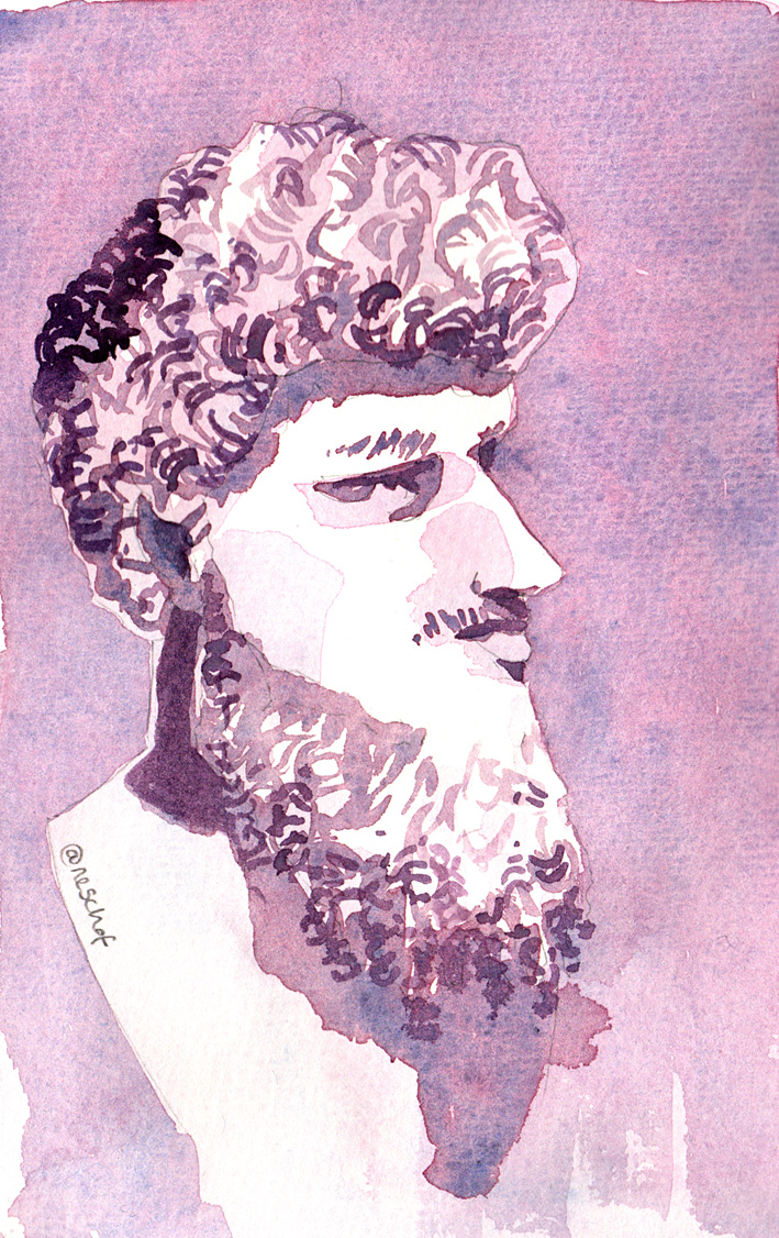 painting of an 18th century bust of Lucius Verus by Carlo Albascini