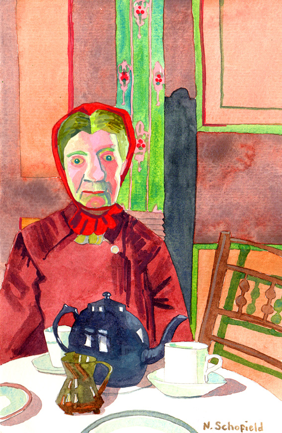 Mrs mounter watercolour by Nicola Schofield